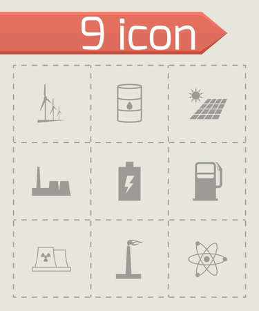 tester: black energetics icons set on grey background