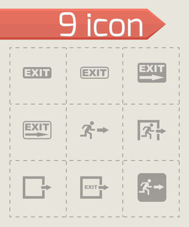black exit icon set on grey background Vector