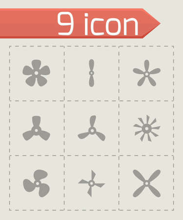 fans and propellers icon set on grey background Vector