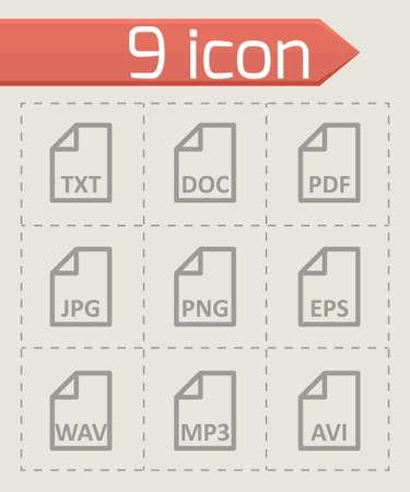 file type: black file type icon set on grey background Illustration