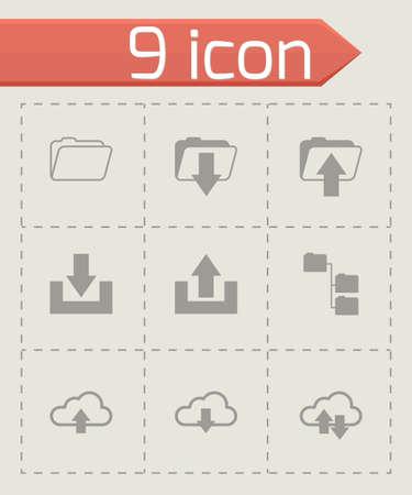 ftp: Vector black ftp icons set on grey background Illustration