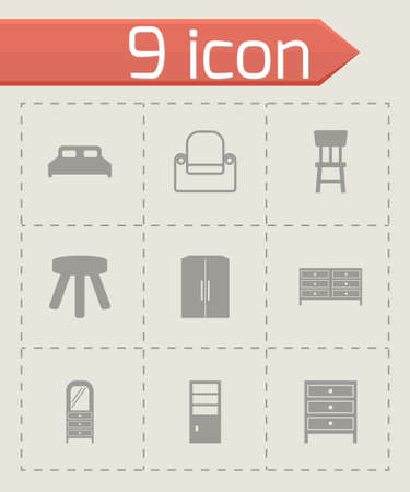 black furniture icons set on grey background Vector