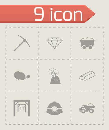 mining icons: Vector black mining icons set on grey background