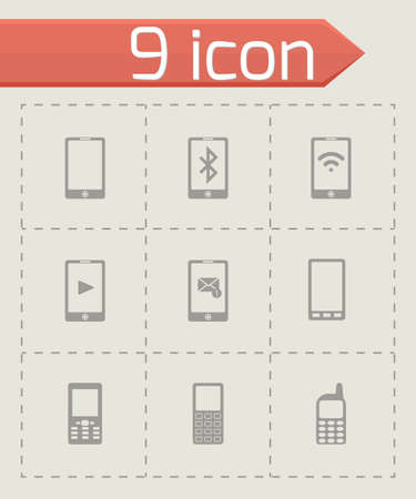 cell phone transmitter tower: black mobile icons set on grey background Illustration