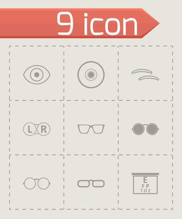 optometry: black optometry icons set on grey background Illustration