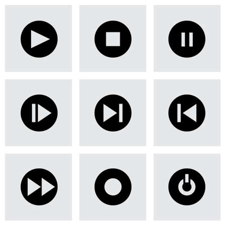 media buttons: media buttons icon set on grey background