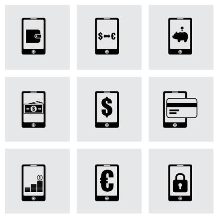 mobile banking: mobile banking icon set on grey background Illustration