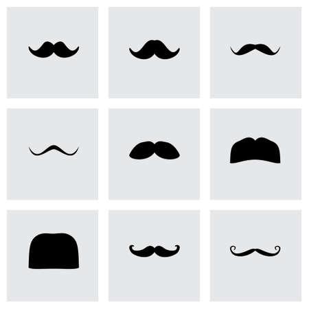 moustaches: moustaches icon set on grey background