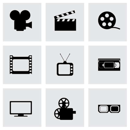 pg: Vector movie icon set on grey background