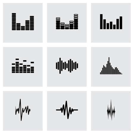 soundwave: music soundwave icon set on grey background Illustration