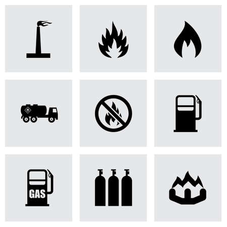borehole: Vector natural gas icon set on grey background