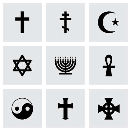 宗教的なシンボルのアイコンが灰色の背景に設定