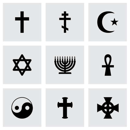 religious symbols icon set on grey background Çizim