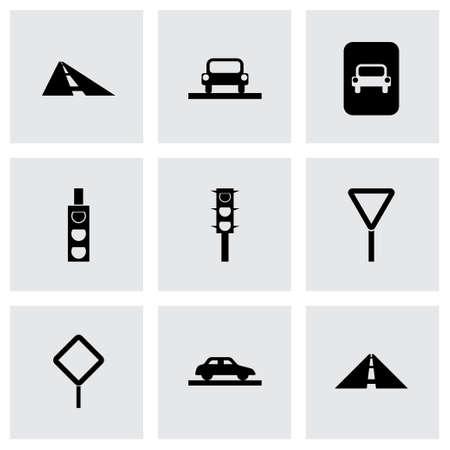 pedestrian walkway: road icon set on grey background Illustration