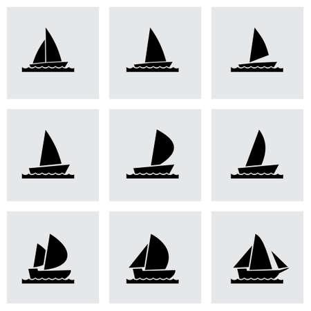 inflate boat: sailboat icon set on grey background Illustration