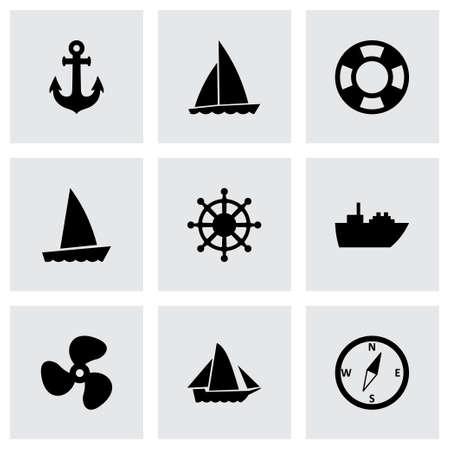 bateau voile: bateaux et de navires, icône, ensemble sur fond gris