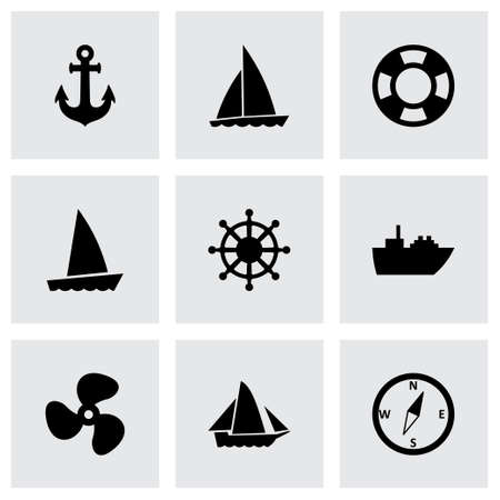ship and boat icon set on grey background Vector