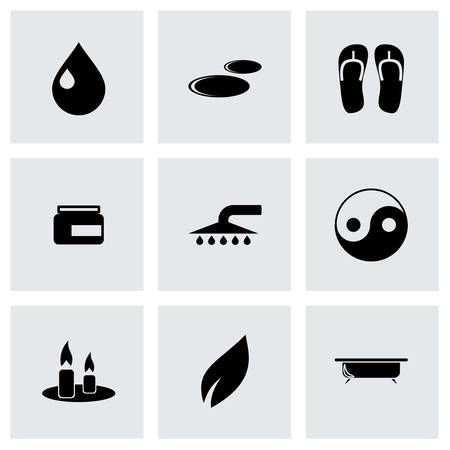 papering: spa icon set on grey background Illustration
