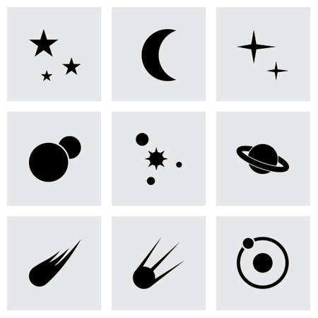 space icon set on grey background Vector