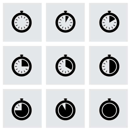 seconds: stopwatch icon set on grey background Illustration
