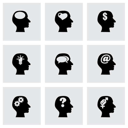 thoughts icon set on grey background Vector