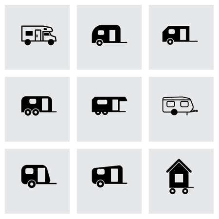 wheeled tractor: trailer icon set on grey background Illustration