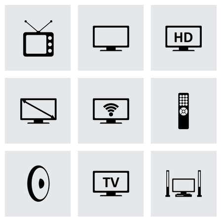 screen tv: tv icon set on grey background Illustration