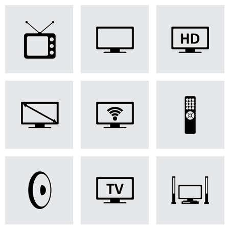 tv icon set sur fond gris
