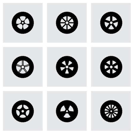 wheel icon set on grey background Vector