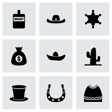wild west icon set on grey background Vector