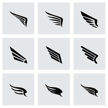 wing icon set on grey background Иллюстрация