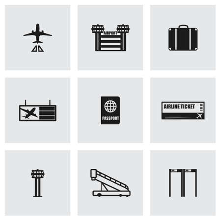 business class travel: Airport icon set on grey background