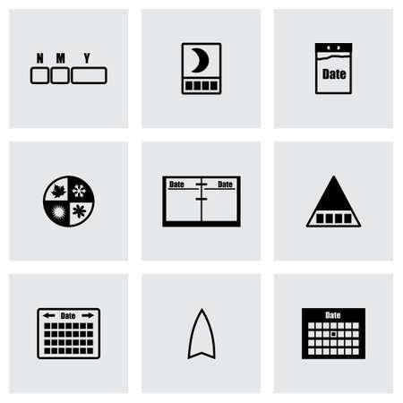 Calendar icon set on grey background Vector