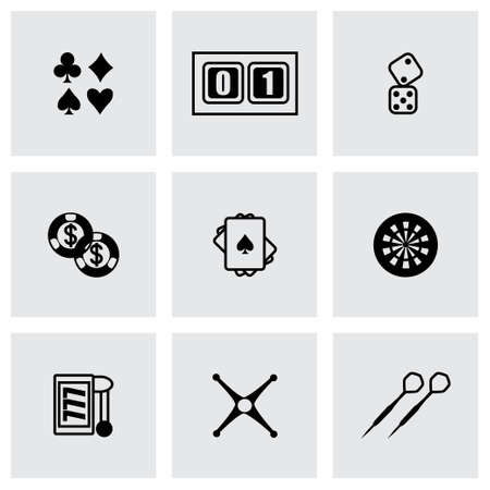 Vector Casino icon set on grey background Vector