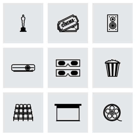 Vector Cinema icon set on grey background Vector