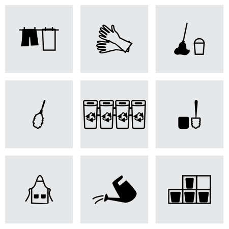 squeegee: Cleaning icon set on grey background Illustration
