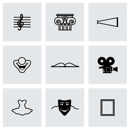 Culture icon set on grey background