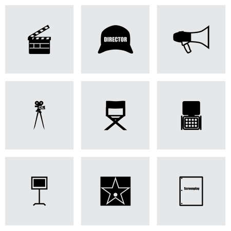 pg: Filming icon set on grey background Illustration