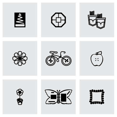 Handmade icon set on grey background Vector