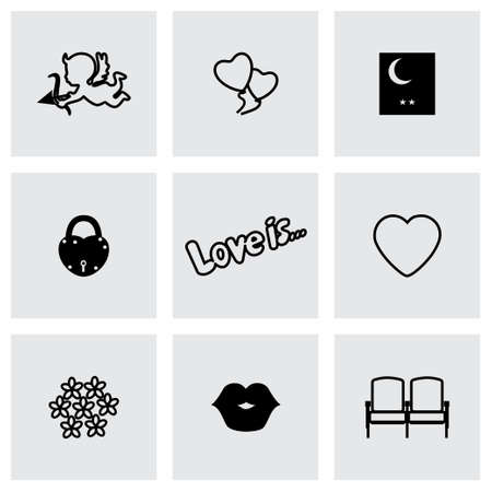 bird       s house: Set of love icons.