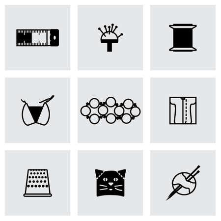 resin: Needlework icon set on grey background