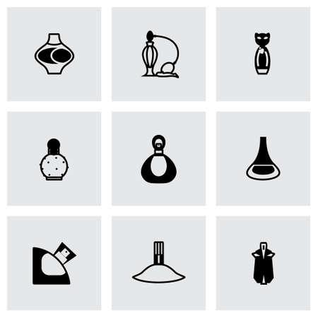 perfume atomizer: Perfume icon set on grey background