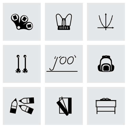 schoolbook: Schoolbook icon set on grey background Illustration
