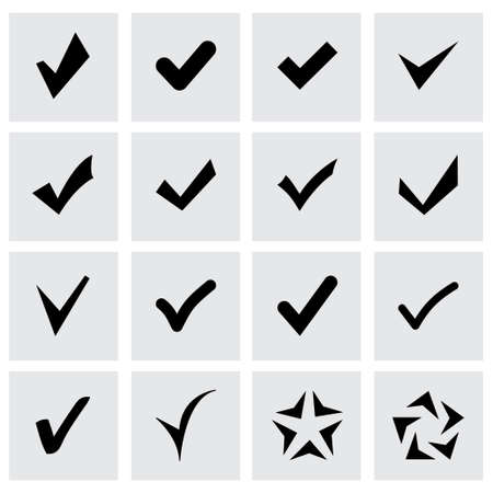 confirm icon set on grey background Vector