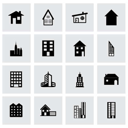 headquarters: building icon set on grey background