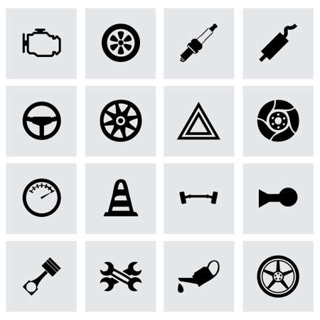 exhaust pipe: car parts icon set on grey background