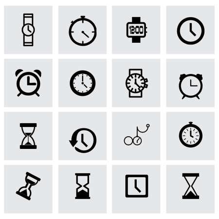 reloj: icono de reloj fijó en fondo gris