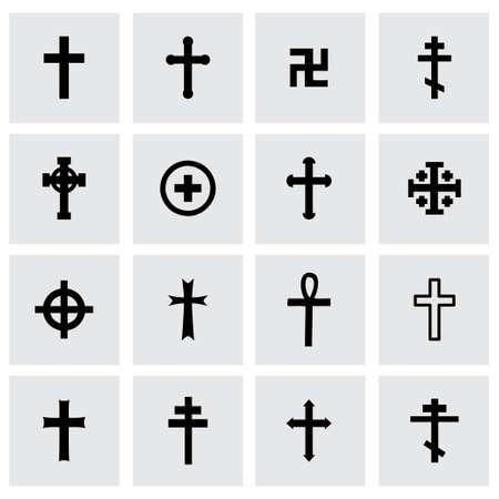 Croci set di icone su sfondo grigio Archivio Fotografico - 38741873