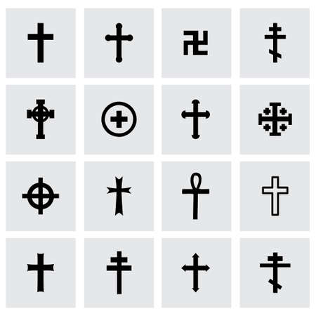 baptist: crosses icon set on grey background Illustration