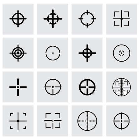 cross hair icon set on grey background Illustration